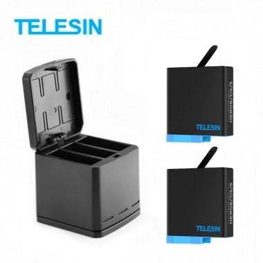 Комплект Telesin GP-BnC-801 для GoPro Hero 8 Black (2 аккумулятора и тройное зарядное)