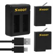 Комплект SHOOT для GoPro Hero 8, 7, 6, 5, 2018 (2 батареи и двойное зарядное)