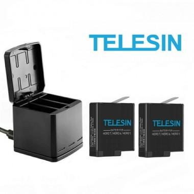 Комплект Telesin для GoPro Hero 8, 7, 6, 5, Hero 2018 (2 аккумулятора и тройное зарядное)