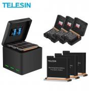 Комплект Telesin для DJI Osmo Action (3 аккумулятора и тройное зарядное)