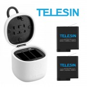 Комплект Telesin для GoPro Hero 7, 6, 5, Hero 2018 - 2 аккумулятора и тройное защищённое зарядное с картридером