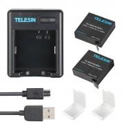 Комплект Telesin для Xiaomi Yi 4K, 4K+, Yi Lite, 2 аккумулятора и двойное зарядное